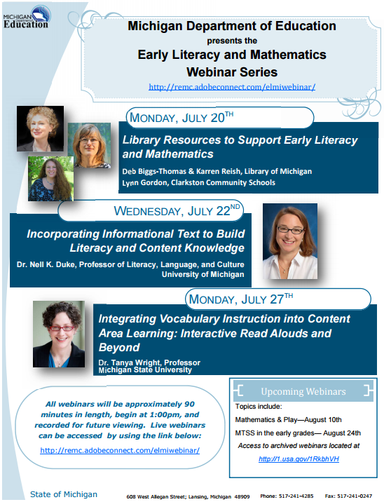 Upcoming Early Literacy and Mathematics Webinar Series from MDE